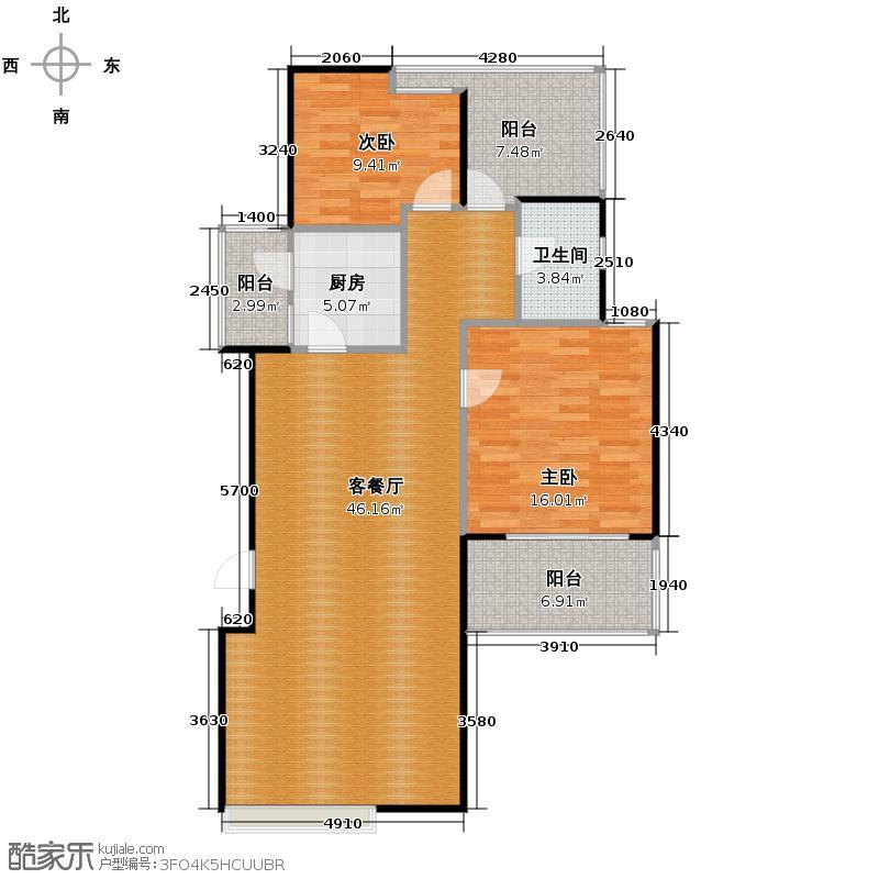 当代国际花园十五区高层104.83㎡户型10室