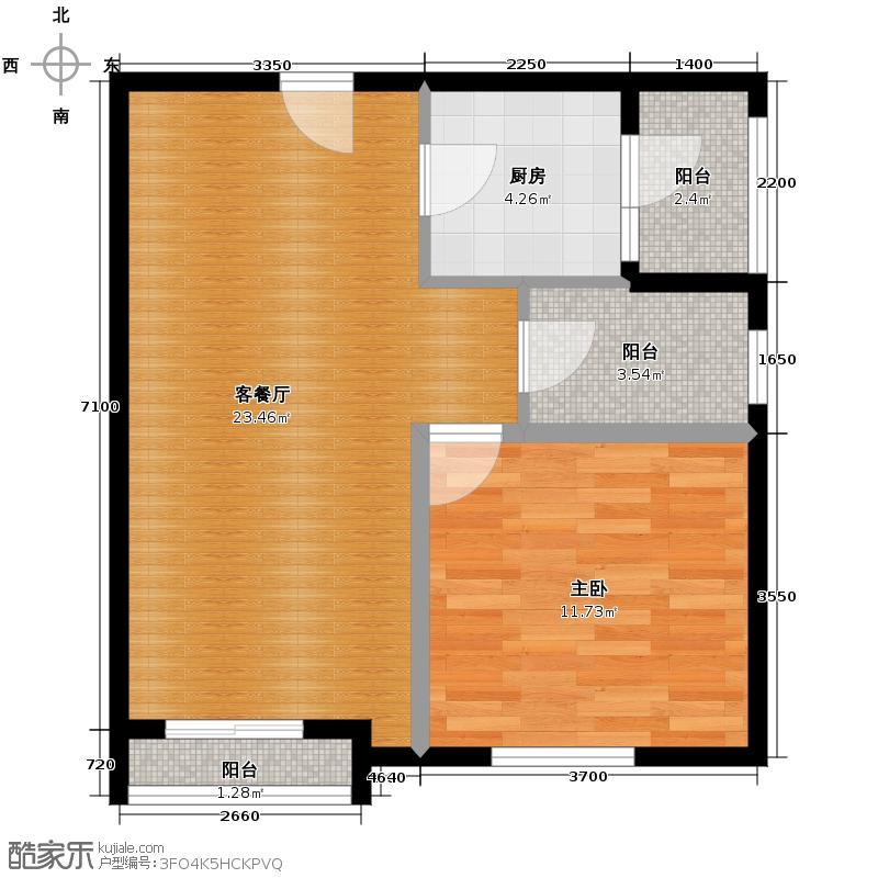 天紫界58.93㎡B型户型1室1厅1厨