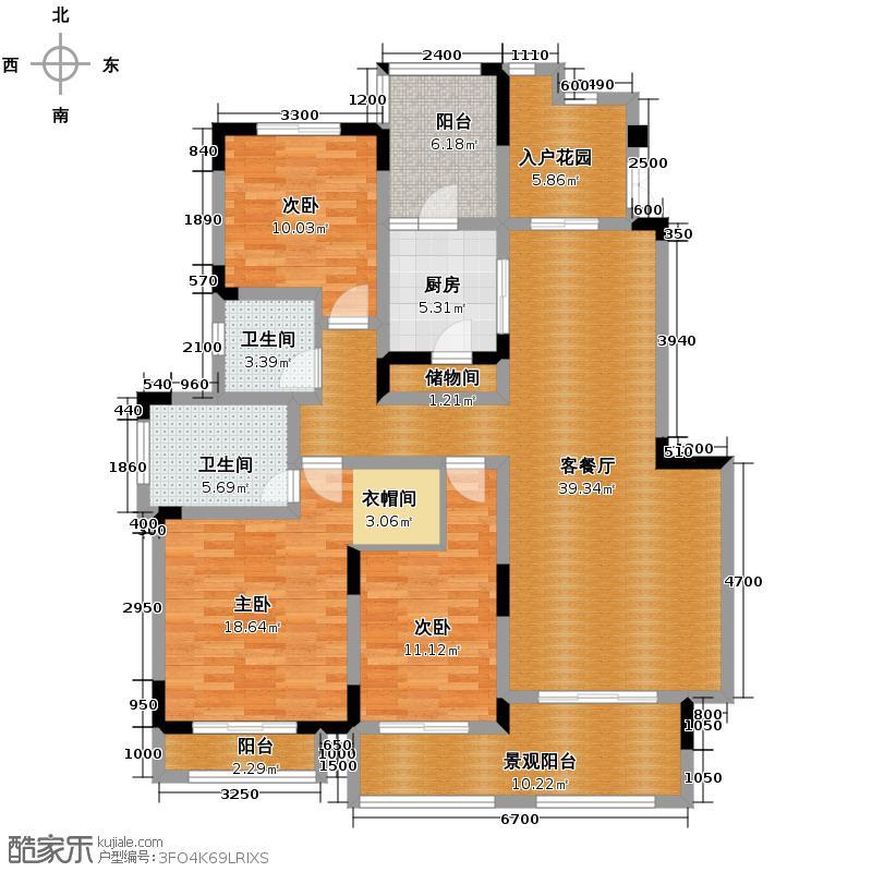 银翔翡翠谷123.39㎡双卫带入户花园户型10室
