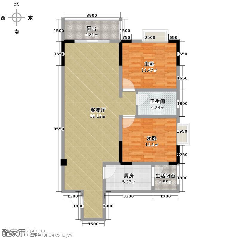 龙潭湾广场91.31㎡B2户型2室1厅1卫1厨