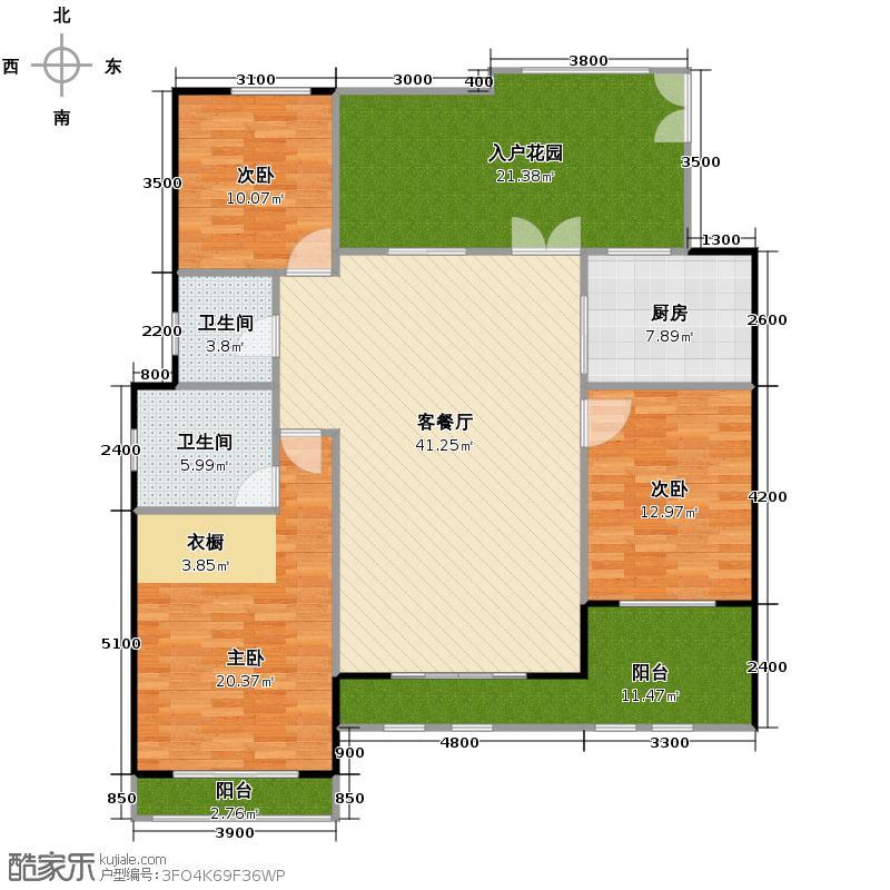 力帆枫樾124.40㎡一期标准层B3户型3室1厅2卫1厨
