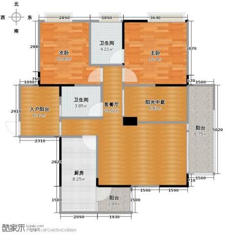 金辉苹果城2室1厅2卫1厨86.00㎡户型图