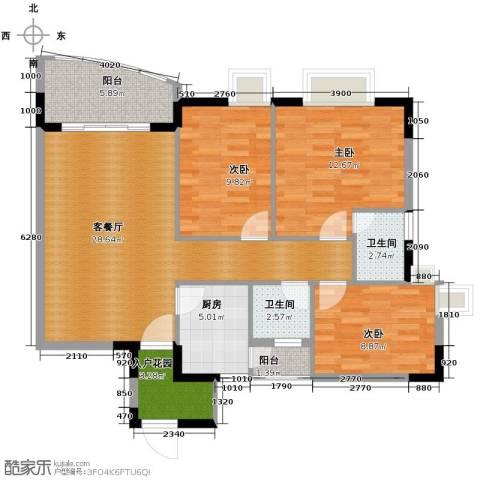 三正世纪豪庭3室1厅2卫1厨114.00㎡户型图