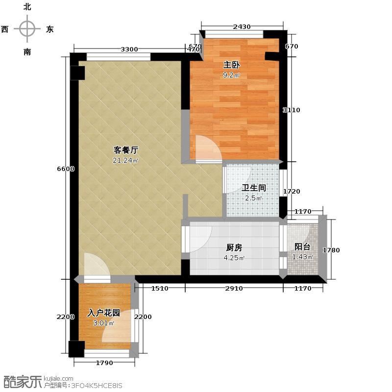 上东阳光艾特公馆53.49㎡E-07//户型1室2厅1卫