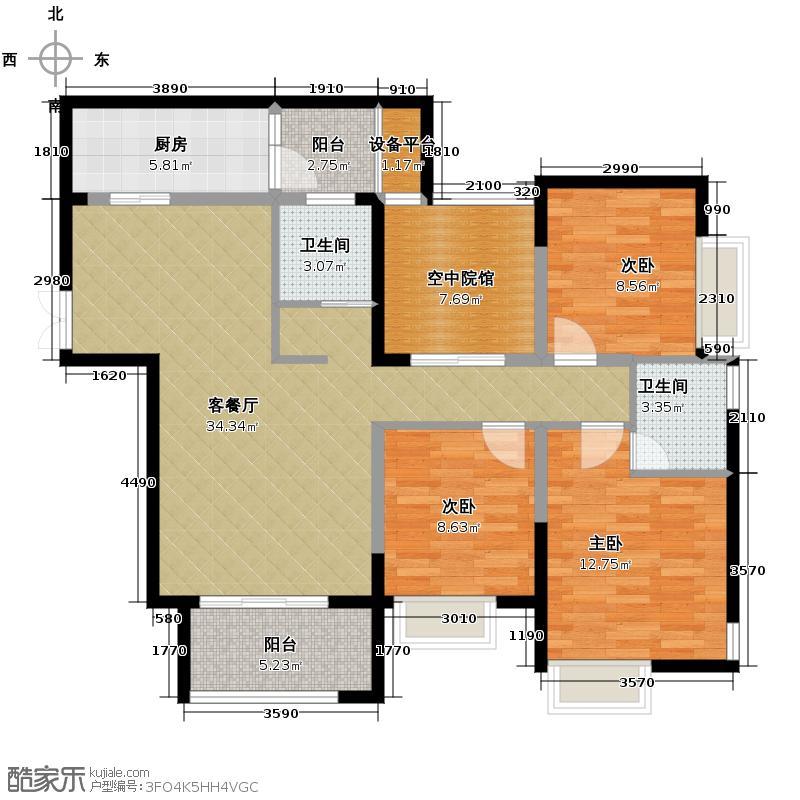 中渝梧桐公馆107.02㎡C户型3室2厅2卫