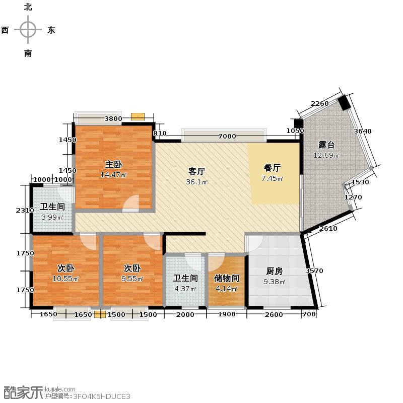 东山国际新城123.04㎡E区户型3室2厅2卫