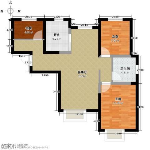 旭辉澜郡3室2厅1卫0厨99.00㎡户型图
