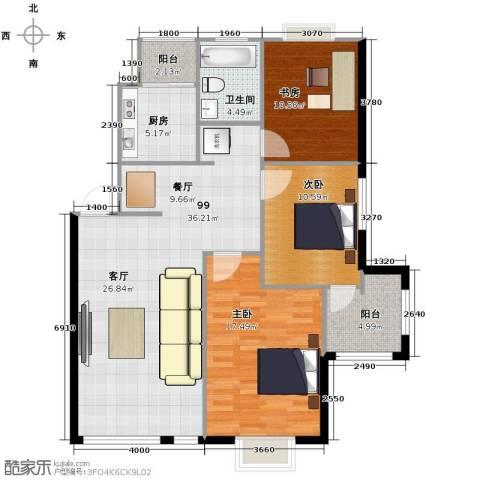 天和人家3室2厅1卫0厨106.00㎡户型图