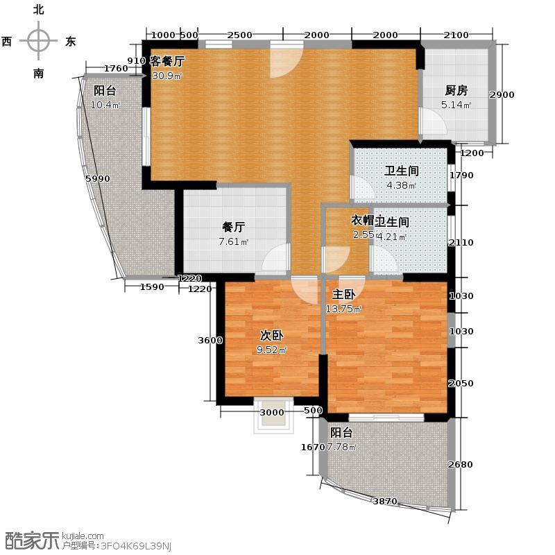 盛世联邦广场108.27㎡户型2室2厅2卫1厨