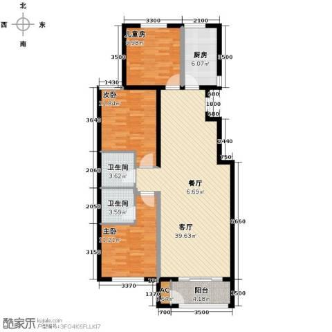 蓝山世家3室2厅2卫0厨120.00㎡户型图
