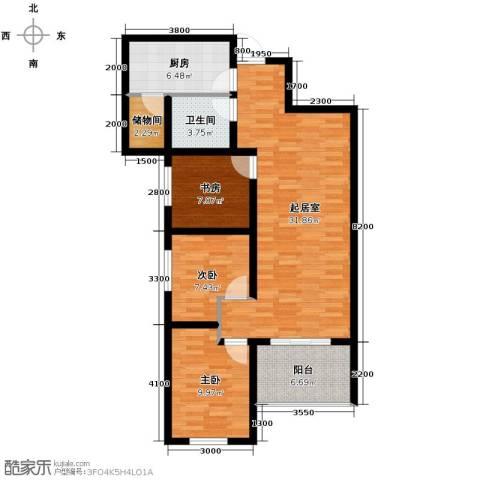 金辉天鹅湾3室2厅1卫0厨88.00㎡户型图