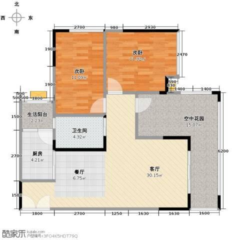 春江花月2室1厅1卫1厨108.00㎡户型图