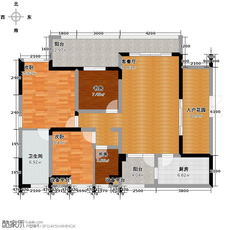融汇温泉城106.23㎡户型4室1厅1卫1厨
