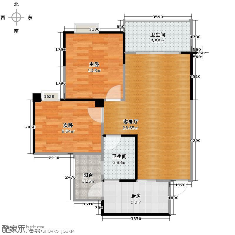 融汇温泉城63.62㎡圣地亚1235号楼赠送户型2室1厅2卫1厨