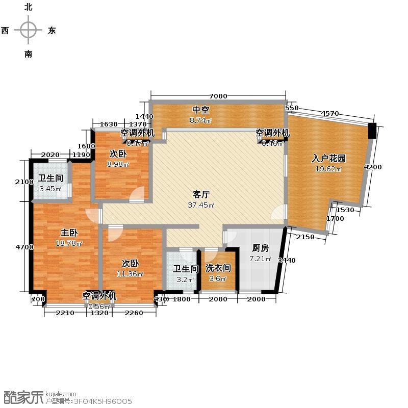 东山国际新城120.35㎡E区户型3室2厅2卫