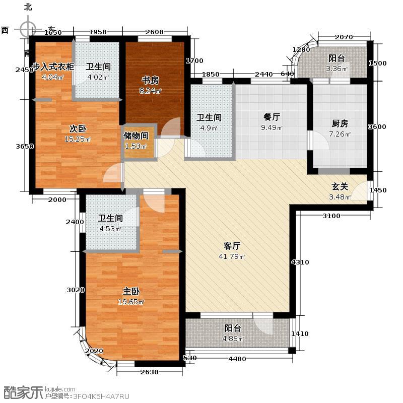 仁恒海河广场158.00㎡3号楼A1银角户型10室