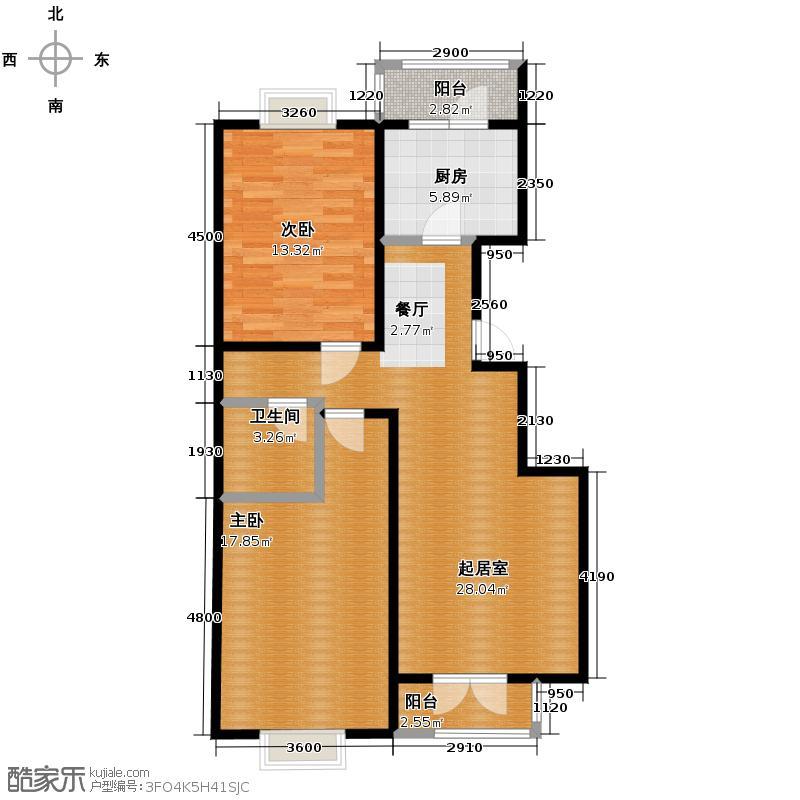 丽江花园99.00㎡P户型2室2厅1卫
