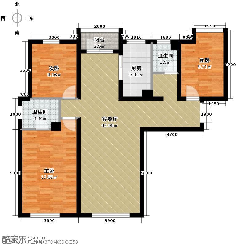 华远海蓝城110.20㎡二期D1户型3室2厅2卫