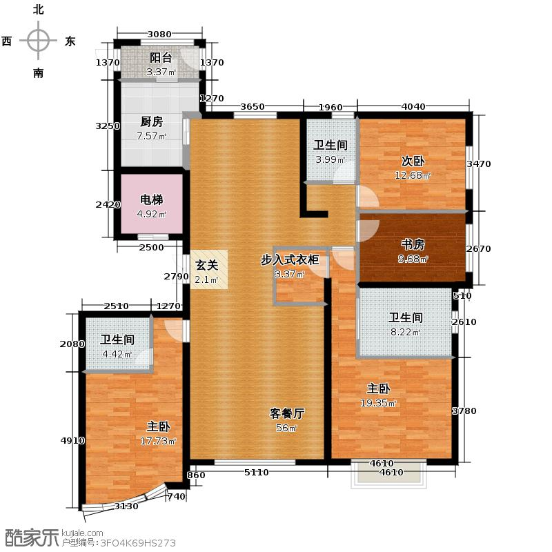 东湖湾216.40㎡306#标准层3单元02标准层四室户型10室