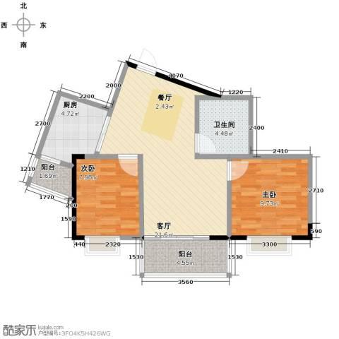 福地华庭2室1厅1卫1厨62.18㎡户型图