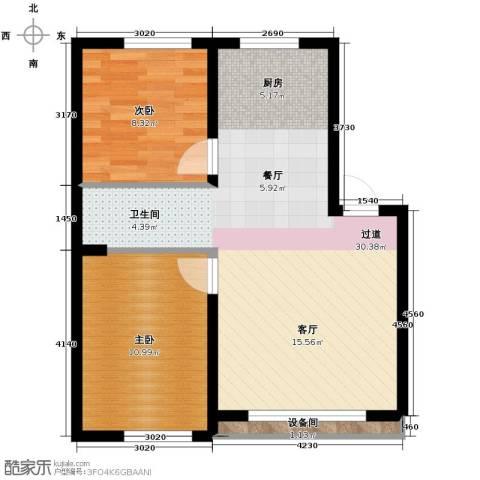 御景名都2室2厅1卫0厨75.00㎡户型图
