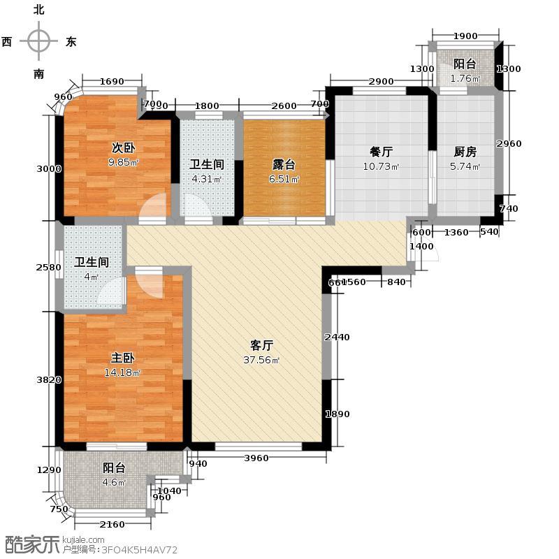 融侨城114.04㎡户型2室2厅2卫