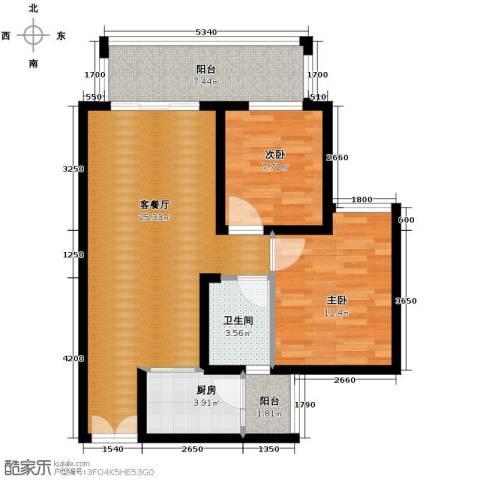 春江花月2室1厅1卫1厨63.00㎡户型图