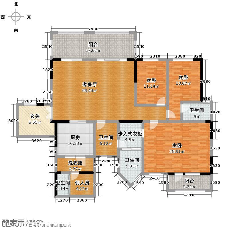 蓝光公馆1881197.00㎡A2型带独立保姆房户型3室1厅4卫1厨
