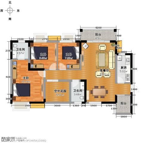 城郊涉外桃源3室1厅2卫1厨123.00㎡户型图