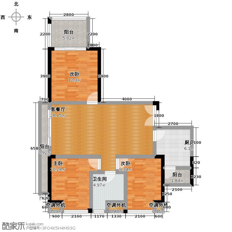 融汇温泉城97.08㎡户型3室1厅1卫1厨