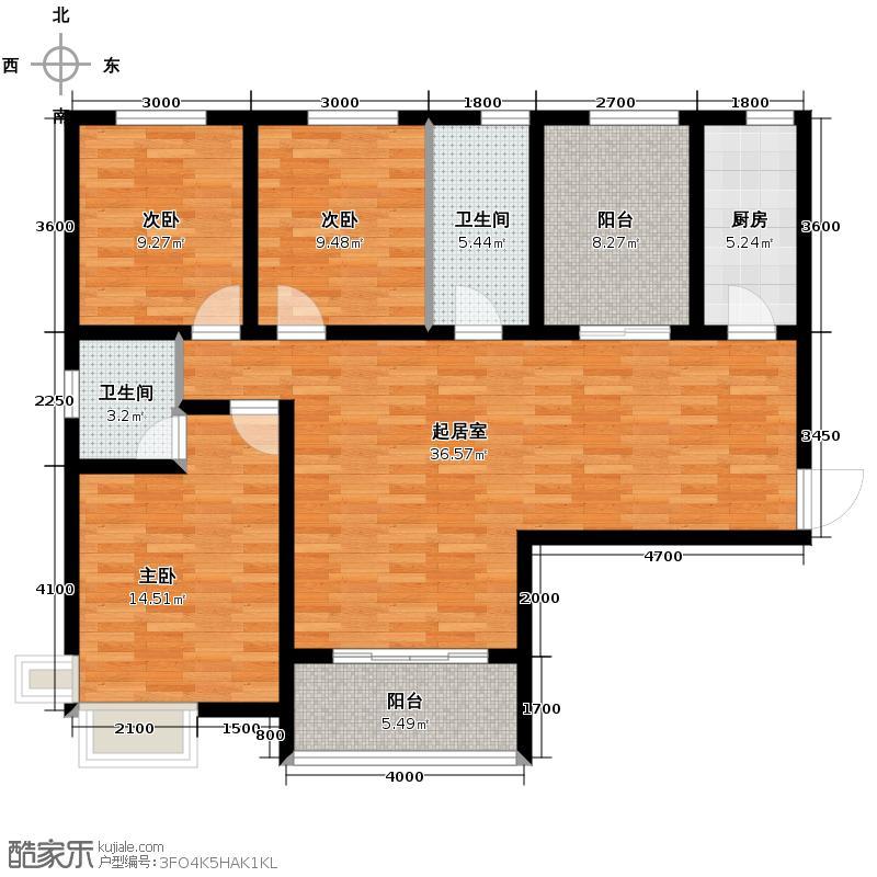 金辉天鹅湾112.35㎡户型3室2厅2卫