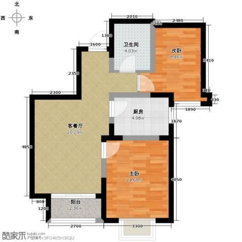 旭辉澜郡2室2厅1卫0厨80.00㎡户型图