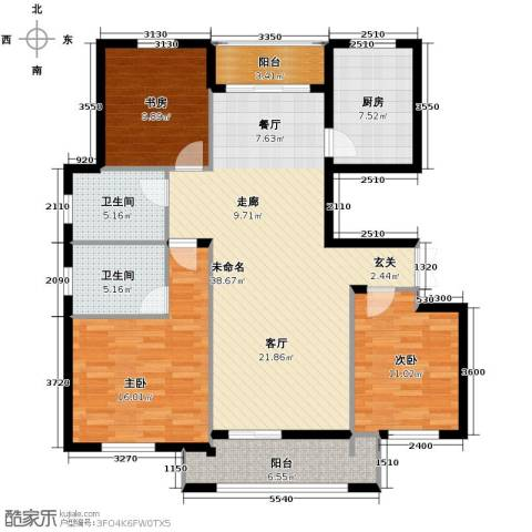朗庭山3室2厅2卫0厨130.00㎡户型图