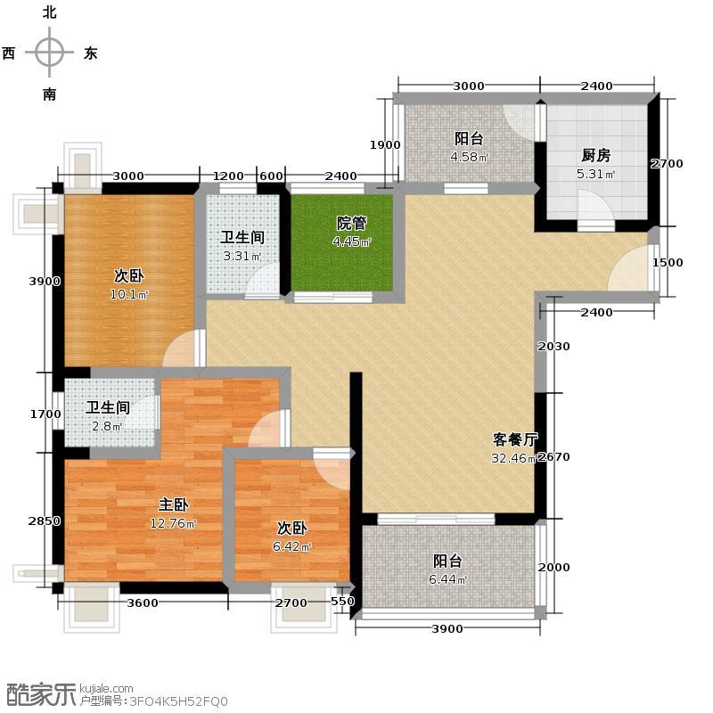 泽科港城国际108.52㎡1/2/3号楼D-4楼层5-32层户型3室1厅2卫1厨