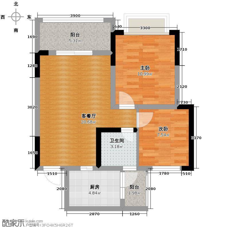 金鹏两江时光56.72㎡C9户型2室1厅1卫1厨