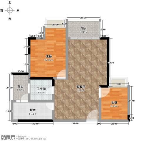 金辉苹果城2室1厅1卫1厨59.59㎡户型图