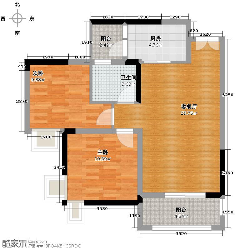 和泓四季78.43㎡D1栋6#户型2室2厅1卫