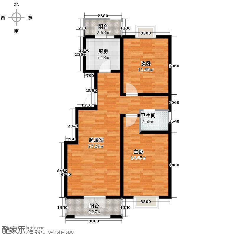 丽江花园91.00㎡I户型2室2厅1卫