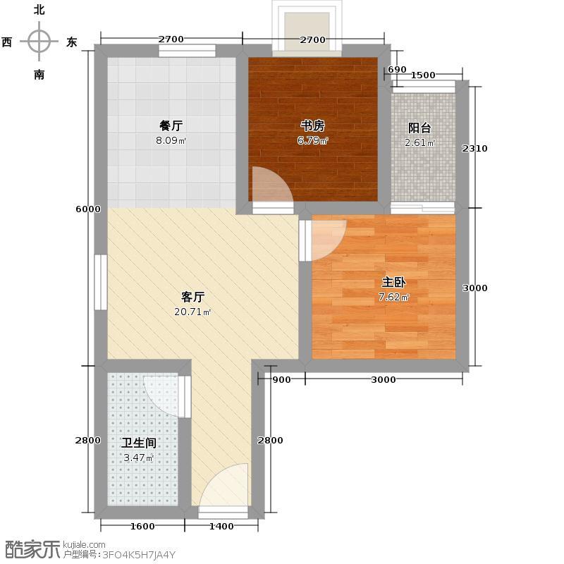 瑞丰新欣城56.00㎡A1户型2室2厅1卫