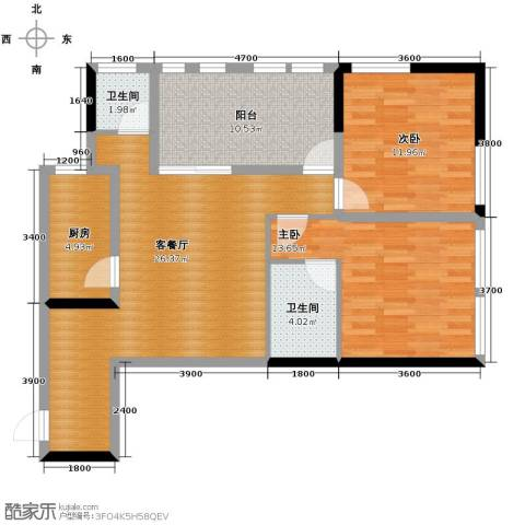 羲城蓝湾2室1厅2卫1厨84.45㎡户型图