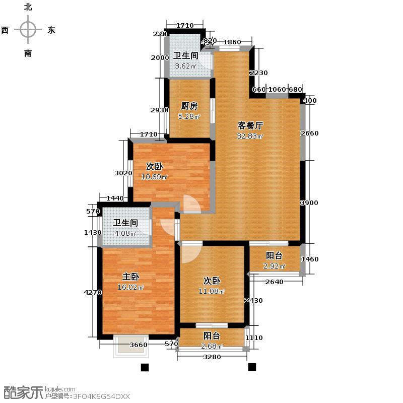 鼎正中央领郡123.88㎡2号楼2-03户型3室2厅2卫