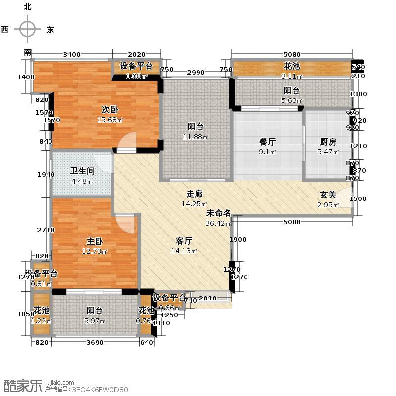 武汉锦绣香江108.00㎡C1栋01C3栋05单元改装前2室户型2室2厅1卫