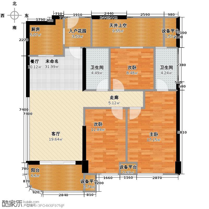 融信白宫111.10㎡A2#A3#楼B1单元户型3室2厅2卫