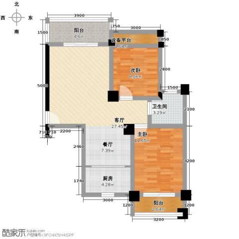 新澳蓝草坪2室1厅1卫1厨80.00㎡户型图