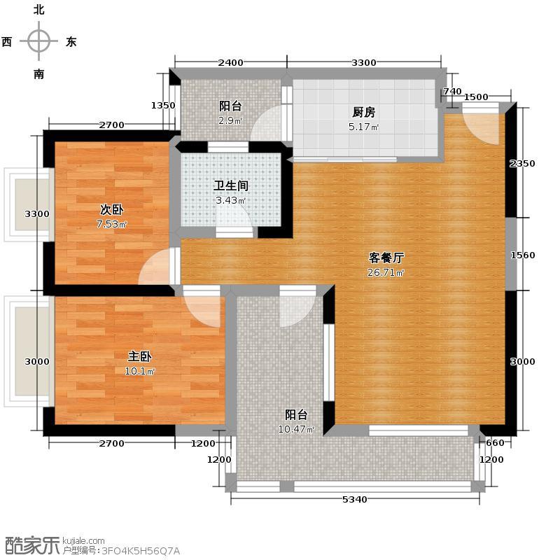 金辉苹果城77.38㎡户型2室1厅1卫1厨