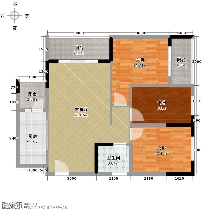 珠江太阳城捌零公馆77.33㎡一期C4栋2号房标准层户型3室2厅1卫