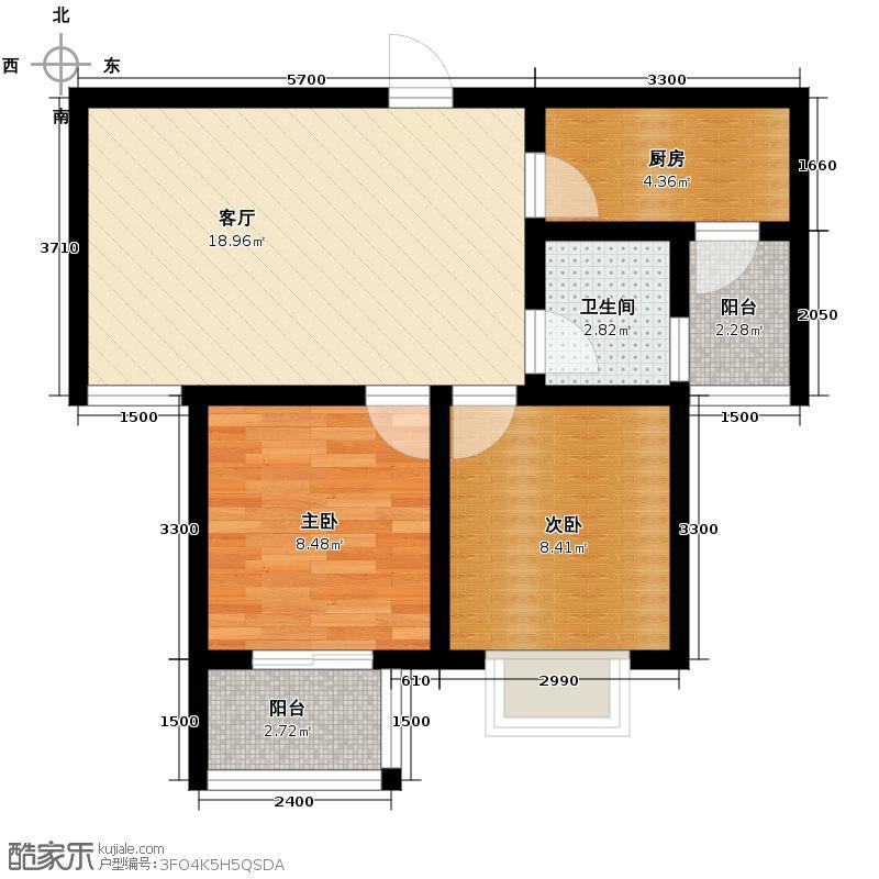 香缤国际城70.41㎡8#C户型2室1厅1卫