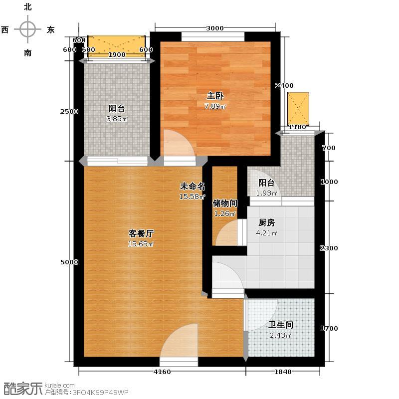 德坤新天地52.00㎡独乐馆A4户型1室1卫1厨