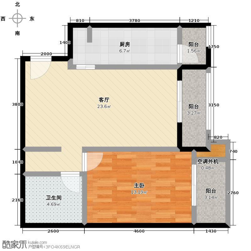 东方普罗旺斯79.53㎡9号楼B1户型1室1厅1卫1厨