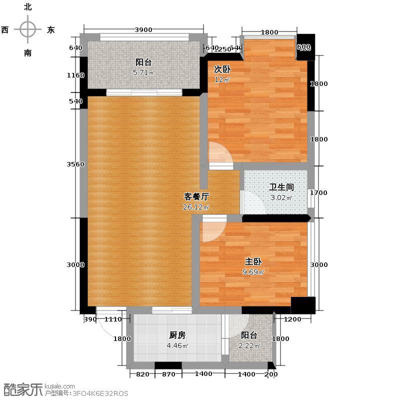 泰和欧城75.30㎡一期B1户型2室2厅1卫